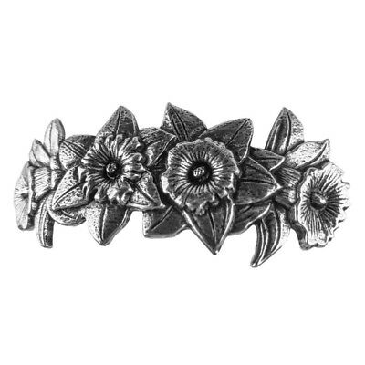 Daffodil Blooms Oberon Design Custom Made Hand Cast Pewter Hair Clip Barrette