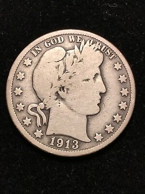 1913 Barber Half Dollar** VERY GOOD **KEY DATE ** Only 188,000 Minted AFF