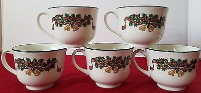 """Johnson Brothers Victorian Christmas England Footed Cups 2-5/8"""" Lot of Five"""
