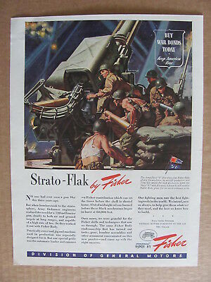 1944 Fisher Strato Flak 120 Millimeter Gun WWII Era Color Ad