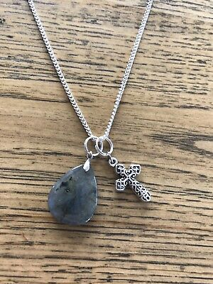 Labradorite moonstone with Cross silver chain necklace