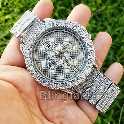 Men Hip Hop Iced out White Gold PT Rapper's Bling BIG Simulated Diamond Watch