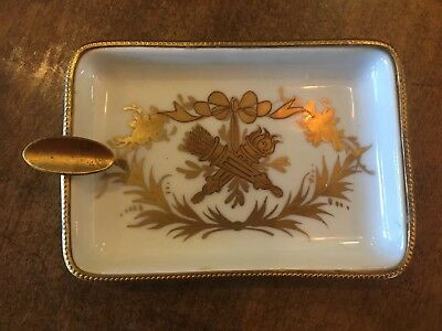"""Vintage Limoges France White & Gold Shell Dish Bowl With Crossed Torches 5 1/2"""""""