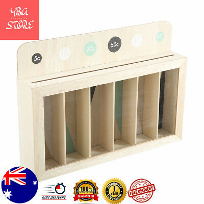 Kids Counting Money Box 6 Compartments Brown Saving Counting Toys Coin Sorter