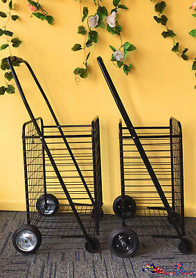Metal Shopping Cart Trolley Carts Foldable Luggage with Wheels Basket 2 Sizes