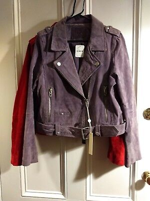 NWT Blank NYC/Free People Suede Moto Jacket Coat RED OR PURPLE Size L Large