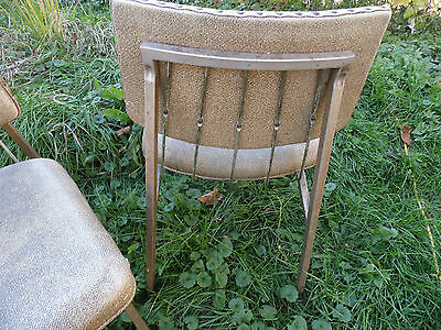 Pair Vintage Chair Kitchen Dining Retro Bronze Metal Virtue Brothers Brown USA