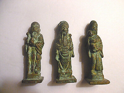 Lot of 3 Solid Brass Asian Figures
