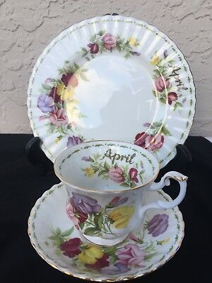 Royal Albert Sweet Pea China Trio Cup Saucer & Plate April Month