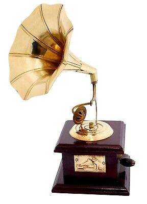 Vintage Antique Brass Gramophone Phonograph~Collectible Vintage Dummy Gramophone