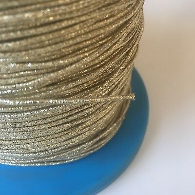 Antique Gold Metallic Round Shirring Elastic 1.4mm Smocking Beading 5 Metres