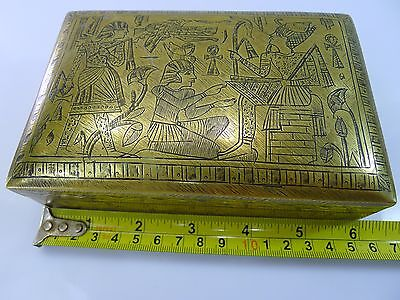Rare Old Hinged Lid Heavy Brass Box Egyptian Decoration With A Wooden Interior