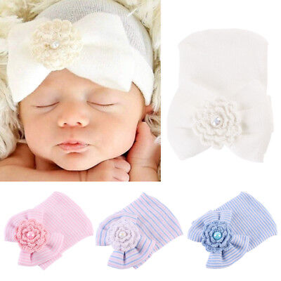 Baby Girls Infant Striped Soft Hat with Bow Cap Hospital Newborn Beanie Diomands