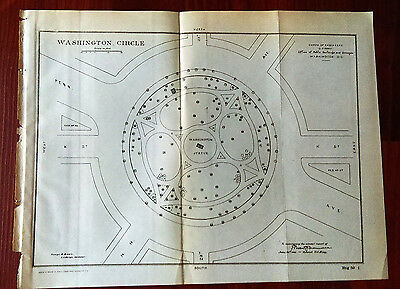 1905 Washington DC Circle Statue G. Brown Landscape Diagram Map US Army Engineer