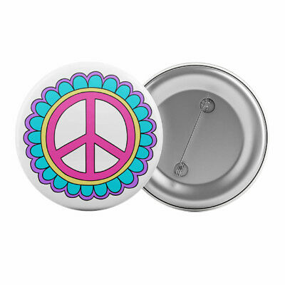 "Flower Power Peace Sign Badge Button Pin 1.25"" 32mm Hippy 70s Costume Pin"