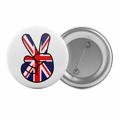 "Peace Fingers Sign Union Jack Badge Button Pin 1.25"" 32mm England British"