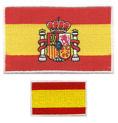 LOTE 2 PARCHES bordados  BANDERA DE ESPAÑA CON ESCUDO Y MINI, EMBROIDERY
