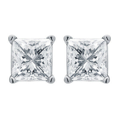 3.00 Ct Princess Cut Diamond Solitaire Stud Earrings In 14k White Gold
