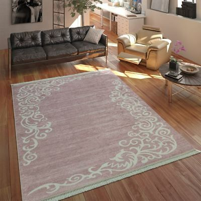Modern Rug With Printed Tendril Pattern Trendy Design Pink White