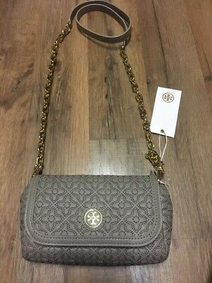 160c9765672 NWT TORY BURCH Bryant Quilted Small Crossbody Gray Leather Bag Purse Style  34029