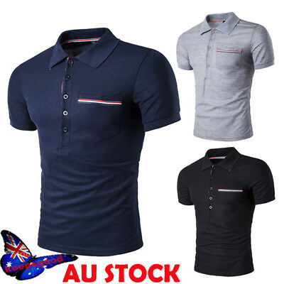 Men's Business Work Casual Collar Polo Shirts Short Sleeve T-shirt Slim Fit Tops