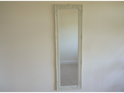 Cream Rectangular Mirror Antique Style Wooden Frame Wall Mounted Hanging Decor