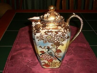 Antique Hand Painted Unmarked NIPPON Porcelain Coffee or Tea Pot w/ Birds & Gilt