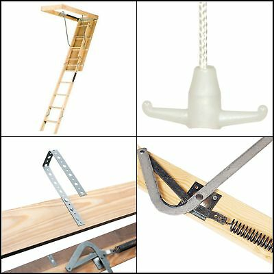 Wooden Attic Ceiling Extension Ladder Height 250 Pound 22.5 x 54 Inch Sturdy New