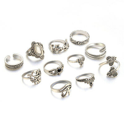 11pcs Ring Set Boho Knuckle Rings Elephant Feather Olive Thumb Finger Ring LH