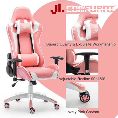 JL Comfurni Office Gaming Chair Race Swivel Computer Desk Chair Pink Wall New