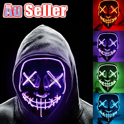 Cosplay Led Costume Wire Light Up Fluorescent Mask Halloween Scary The Purge