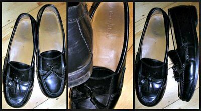 80s stylish slipon black leather moccasin dress mens shoes by Cole Haan New York