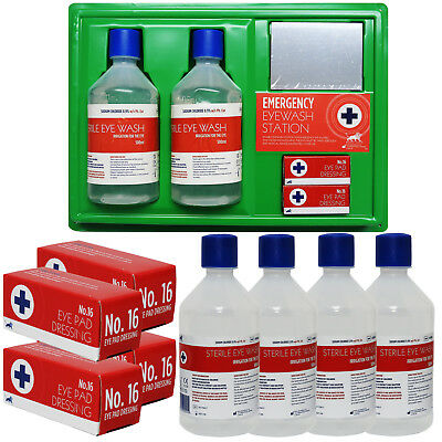 Blue Lion Sterile 500ml Eye Wash First Aid Wall Mounted Station, X-Large Pack