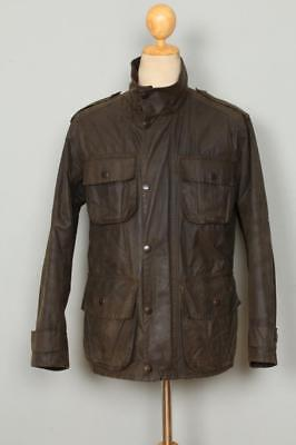 Mens BARBOUR Trooper WAXED Jacket Olive Size Small