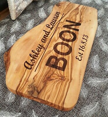 engraved and personalised olive wood serving board platter for cheese and olives