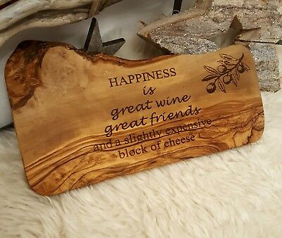 engraved and personalised olive wood serving board platter. Cheese carving board