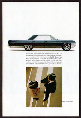 1963 BUICK Electra 225 Vintage Original Print AD - Blue 4-door car photo men USA