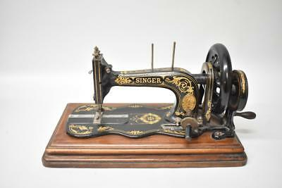 Antique Singer Crank Fiddleback Sewing Machine Tabletop Circa 1880's