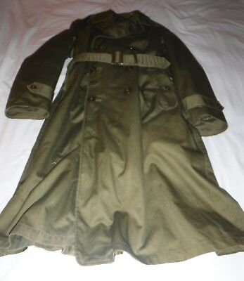Vintage US Army Dress Green Wool Overcoat Long Small Issued 1953