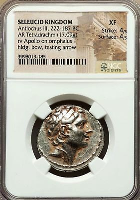 NGC XF 4/5-4/5 Antiochus III the Great. Exquisite Tetradrachm. Greek Silver Coin