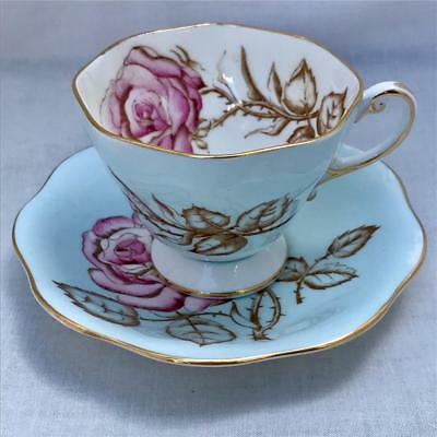 Vintage Foley Blue Floral Tea Cup & Saucer with Rose Staffordshire England