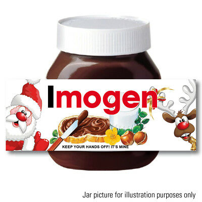 Personalised Chocolate spread fits Nutella Jar LABEL Sticker CHRISTMAS BIRTHDAY