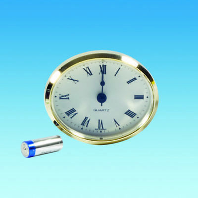 CARAVAN MOTORHOME OVAL RECESSED CLOCK 79mm x 65mm GOLD BEZEL INCLUDING BATTERY