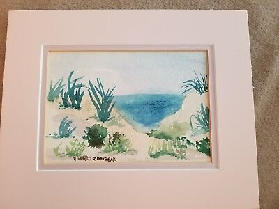 Original painting watercolor by Mildred Conybear ocean beach coastal sand dunes
