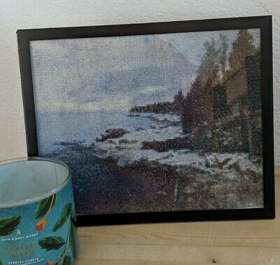 Finished Winter Snowfall Shoreline of Lake Superior Cross Stitch Framed