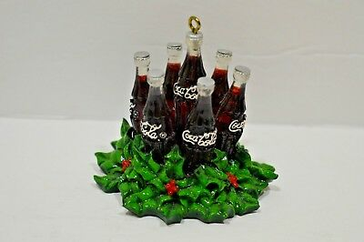 "2003 COCA-COLA ""MINI BOTTLES inside CHRISTMAS WREATH"" Holiday ORNAMENT Coke"