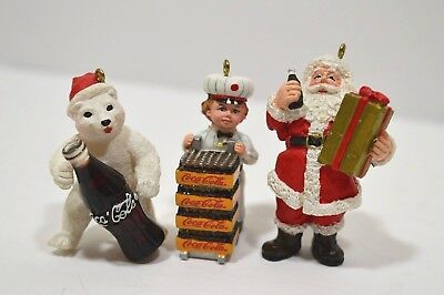 Coca Cola Porcelain Christmas Ornaments Bear, Boy and Santa 2003 Lot of 3