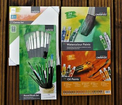 4 Box Painting Set, Brushes, Canvasses, Oils and Watercolours