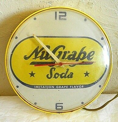 Vintage Nu-Grape Advertising 8 Inch Electric Wall Clock Works