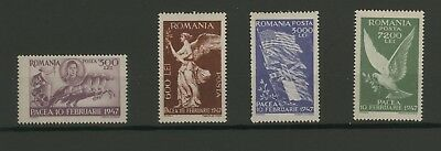Stamps Romania  1947, Peace Conference, four values set, MNH